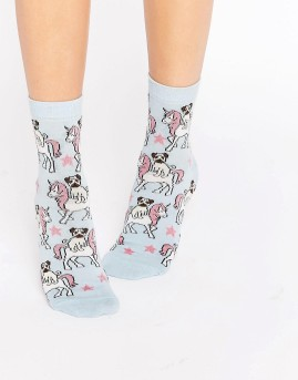 Pug Riding Unicorns Socks